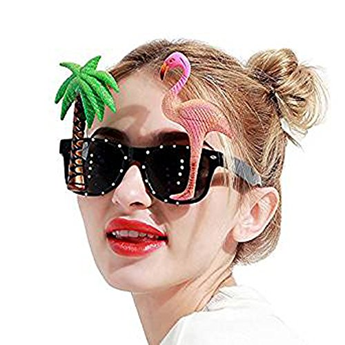 MeiQing Specs with Flamingo and Palm Tree Hawaiian Style Parrot Miami Beach Party Novelty Costume Glitter Sunglasses -