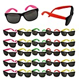 Neon Sunglasses Party Favors - Set of 25 Plastic Neon Shades for Kids and Adults - 80's Party Accessories by Tigerdoe