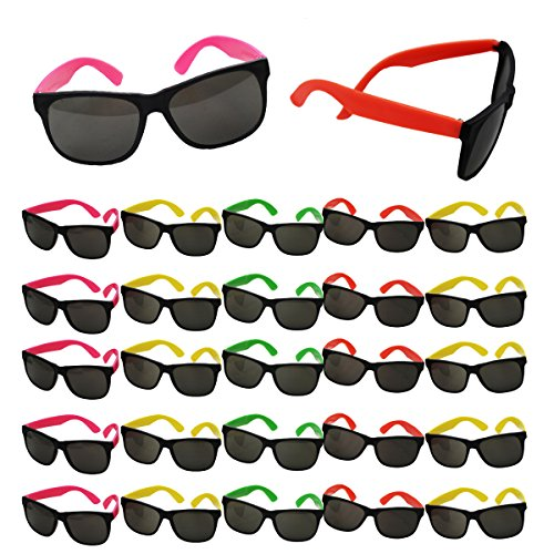 Neon Sunglasses Party Favors - Set of 25 Plastic Neon Shades for Kids and Adults - 80's Party Accessories by