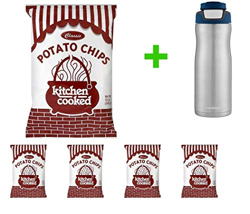 Kitchen Cooked Classic Potato Chips - 12 oz(5 PACK) + Contigo Autoseal Chill Stainless Steel Hydration Bottle 24oz(Combo Offer).
