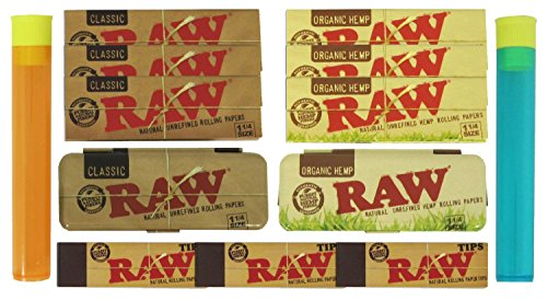 RAW Rolling Paper 3 Packs of Organic, Natural and Tips with Metal Papercases and BEAMER Doob Tubes ()