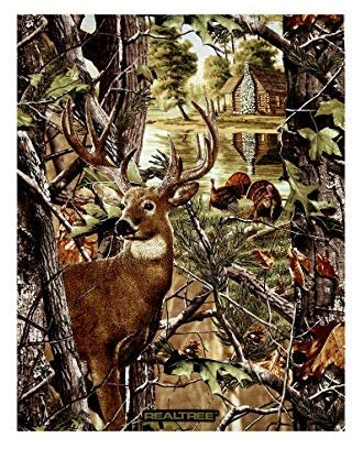 Realtree Deer & Turkey Scenic Cotton Fabric Panel (Great for Quilting, Sewing, Craft Projects, Wall Hangings, and More) 35