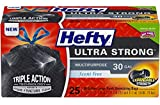 Hefty Ultra Strong Large 30 Gallon Trash Bags - Multipurpose - Drawstring - 25 Count - Pack of 6