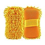 Car Wash Mitt Sponge Chenille Microfiber, GOGOLO Scratch-Free Dual-sided Wash Sponge Highly Absorbent