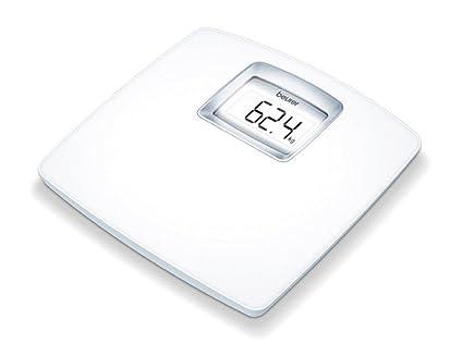 Beurer PS 25 - Báscula de baño con pantalla LCD iluminada, gran plataforma de 34