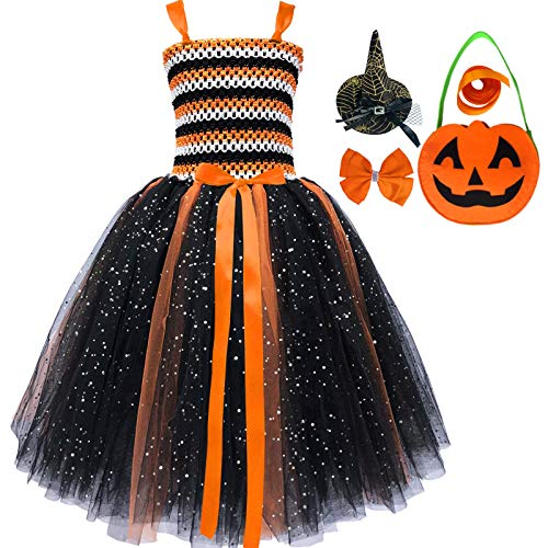 Girls Princess Tutu Dress Sequin Tulle Sleeveless Vintage Halloween Pumpkin Birthday Party Long Dresses with Candy Bag for Baby and Toddler Girl (4, Black-Orange) -