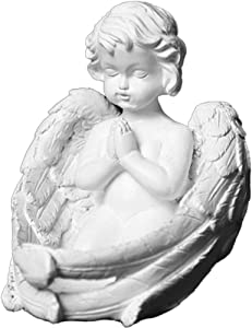 weiwei Praying Cherub Statues with Wings Angel Collectible Figures Indoor Outdoor Garden Decoration Bonded Marble Resin Vintage Ornaments White 5 x 6 x 6 inches (13 x 145 x 155 cm)