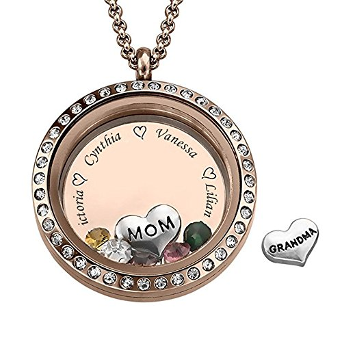 Boknight Family Name Necklace Personalized Floating Charms Engraved Locket Pendant with Birthstone for ()