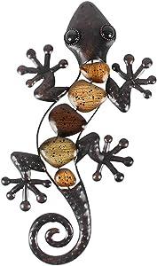 Gecko Wall Decor, Metal Gecko Wall Art Decor, Gecko Garden Art for Farmhouse Patio Fence Living Room Sculptures Wall Decor Statues Garden Decoration Backyard Indoor Outdoor