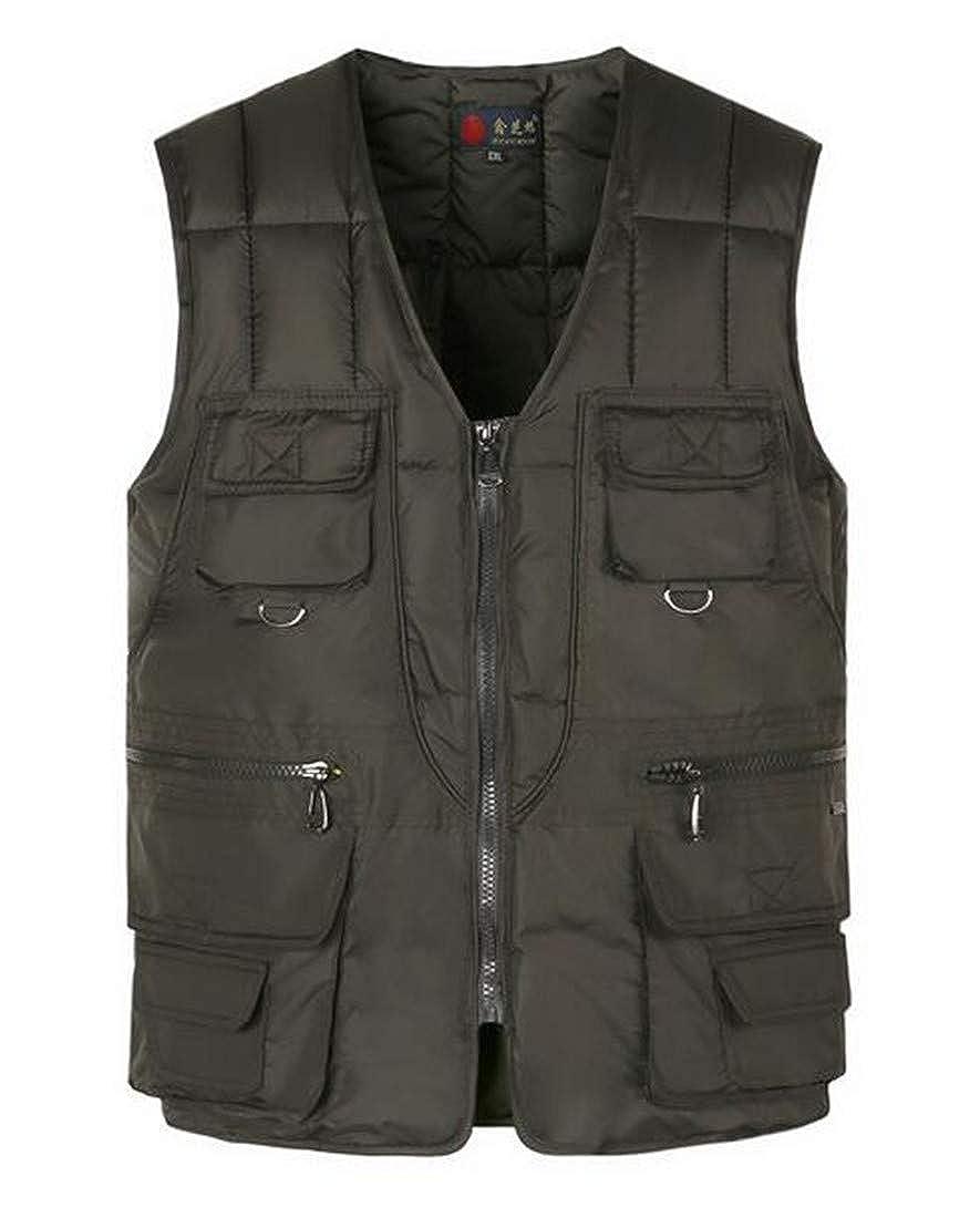 Prsun Men Winter Thick Full-Zip Multi Pocket Sleeveless Business Down Vest Jackets