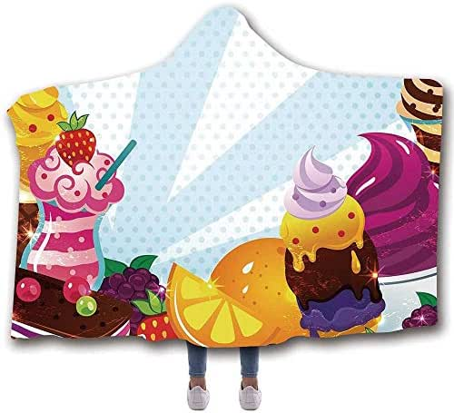 MOOCOM Ice Cream Decor Durable Hooded Blanket,Yummy Menu with Chocolate Raspberry Cherry Orange Strawberry Flavors Image Decorative for All Seasons,60