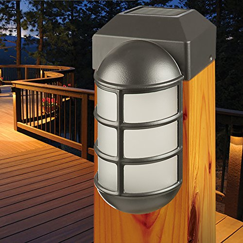 Sterno Home Paradise by Solar Cast LED Post Cap Light For 4x4 Posts With Crystalline Solar Panel,Rechargeable Batte by Sterno Home (Image #1)