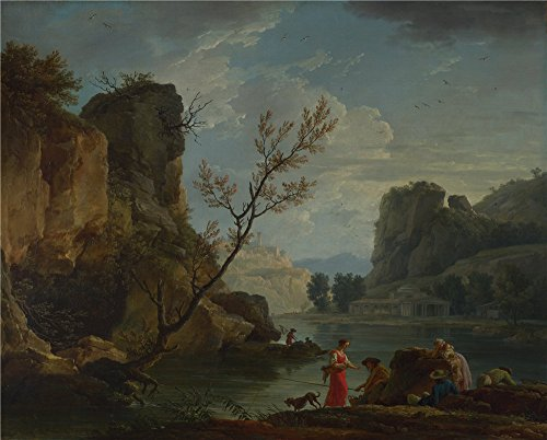 [Oil Painting 'Claude-Joseph Vernet - A River With Fishermen,1751', 10 x 12 inch / 25 x 32 cm , on High Definition HD canvas prints is for Gifts And Bed Room, Foyer And Kitchen] (Chicago The Musical Costume Ideas)