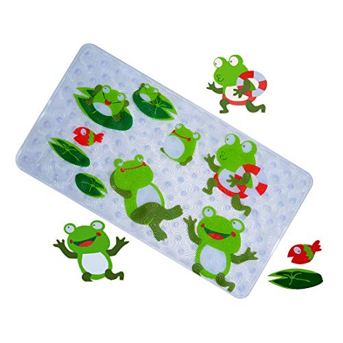 WARRAH None-Slip Tub Kids Bath Mat - Premium Square Anti-Slip Shower Mat,Cool Slip Resistant Bathroom Floor Bathtub Mats for Babies,Children,Toddler (Green Frog)