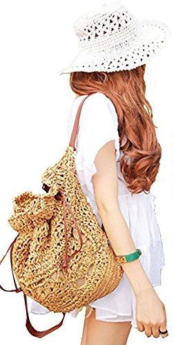 Shoulder Beige Bag Flower Brown Flada Drawstring Dark Backpack Straw Lightweight Women's Knitted Hook 88Fqw7zxv