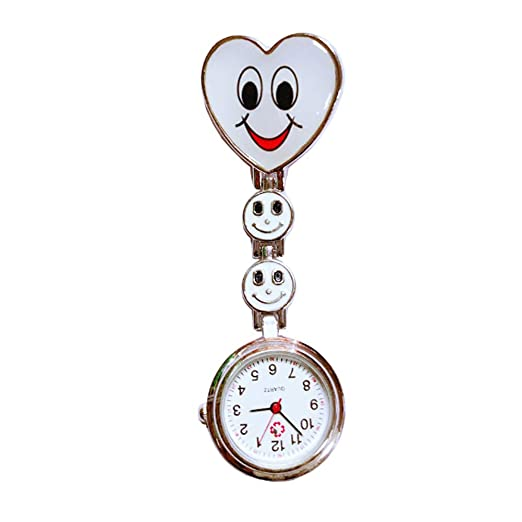Isuper Enfermeras corazón Creativo Reloj de Cuarzo Broche de la Enfermera túnica del Fob del Reloj de Bolsillo de la Cara Sonriente Reloj con Movimiento ...