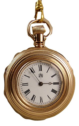 (Rare 1883 Waltham Wm Ellery Ladies Pocket Watch 8s, 7 J, GF Case & Slider Chain, Runs E2806)