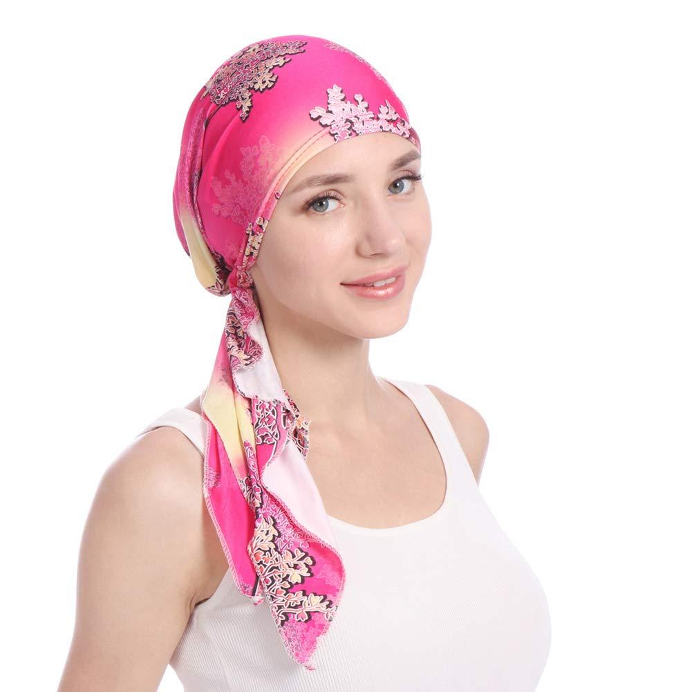 shengyuze Fashion Floral Printed Breathable Women Head Wrap Hat Muslim Hijab Turban Decor - Rose Red
