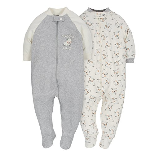 Gerber Baby 2-Pack Organic Sleep 'N Play, Grey/Ivory, 3-6 Months