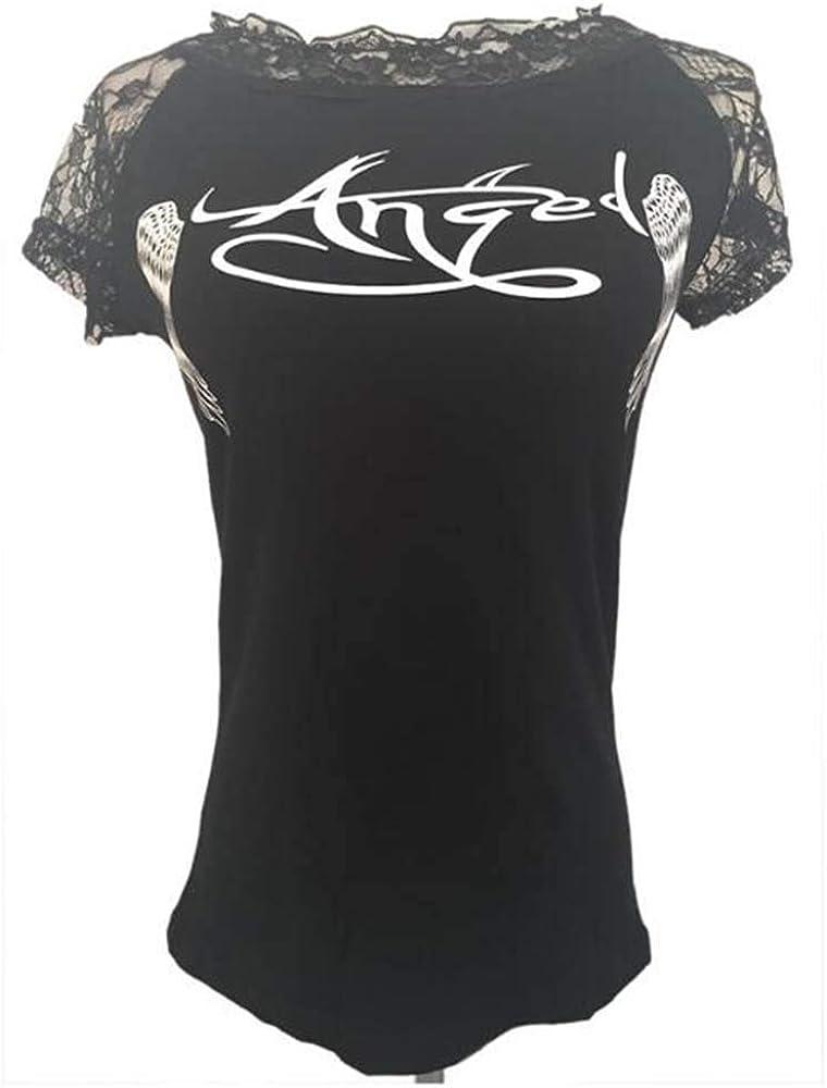 Babao Femmes Ailes Imprim/ées T-Shirt D/écontract/ée Ailes Danges Hauts /à Manches Courtes