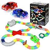 Cedar Toys Wonder Tracks Car Race Track Set. The Complete Set with 220 Pieces of Flexible Glow in The Dark Tracks, 2 Battery Operated Cars with LED Lights, 8 Different Accessories and a Gift Bag.