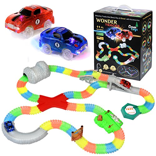 Plastic Turnaround Truck (Cedar Toys Wonder Tracks Car Race Track Set. The Complete Set with 220 Pieces of Flexible Glow in the Dark Tracks, 2 Battery Operated Cars with LED Lights, 8 Different Accessories and a Gift Bag.)