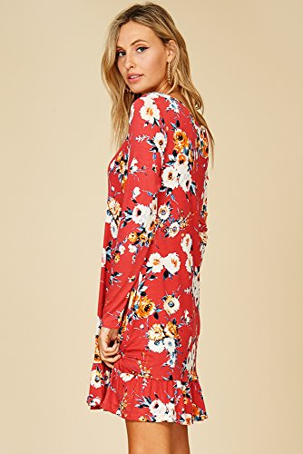 Sleeve with Floral Neck Annabelle Swing Scoop Pockets Coral 4 3 Women's Comfy Dress xZxqwgY4