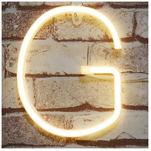 Pooqla Neon Letter Sign Night Lights LED Alphabet Neon Art Lights Wall Decor Light up Words for Wedding Birthday Party Christmas Home Bar Decoration G (G Words)