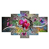 UNIQUEBELLA abstract The Double steps painting printed on Canvas Wall Art Pictures Poster Home kids room decoration (No Frame,unmounted), 5 pcs/set 30*50CM*2+30*70CM*2+30*90CM