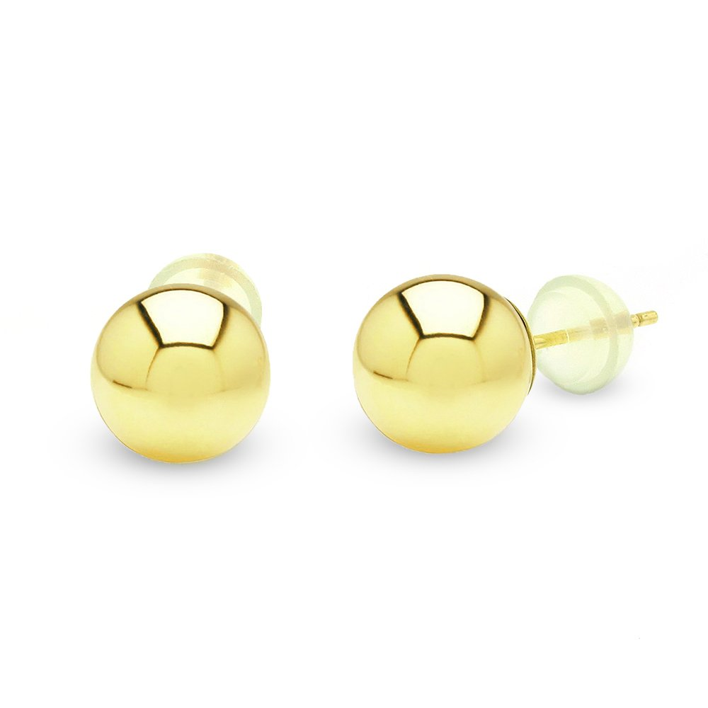 14k Gold Womens 8mm Solid Yellow Gold Ball Round Smooth High Polish Studs Earring