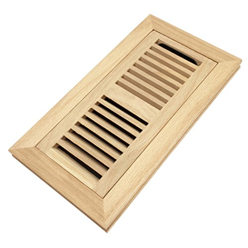 (White Oak Wood Flush Mount Floor Register Vent Cover, 4x10 Inch (Duct Opening), 3/4 Inch Thickness, with Damper, Unfinished)