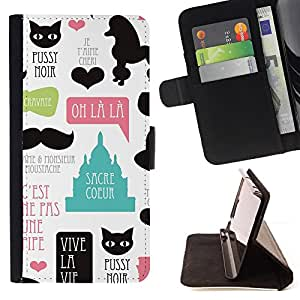 BullDog Case - FOR/HTC DESIRE 816 / - / pussy cat poodle paris french france love /- Monedero de cuero de la PU Llevar cubierta de la caja con el ID Credit Card Slots Flip funda de cuer