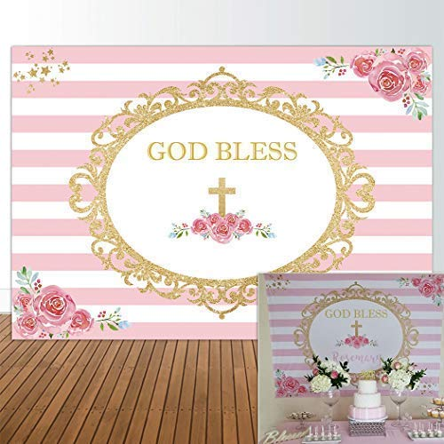 Allenjoy 7x5ft First Communion Backdrop Girl Baptism Pink Christening Floral Birthday God Bless Background Baby Shower Happy Birthday Party Cake Dessert Table Decor Decoation Banner Photo Booth ()