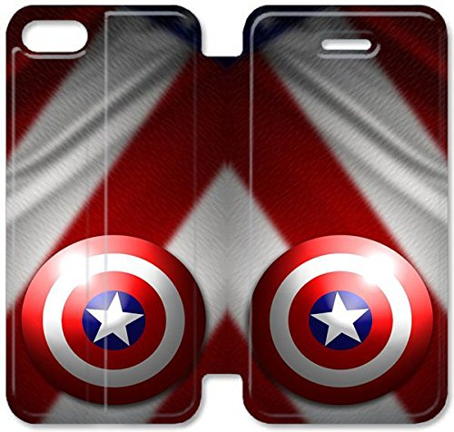 Funda iPhone 5 5S SE Funda de cuero [Buen regalo bonito regalo] [Captain America Symbol] [Card/Cash Slots] Protectora caja del teléfono para iPhone 5 5S SE E2E3OH