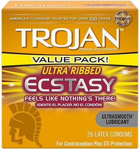 Trojan Ecstasy Ultrasmooth Ribbed Lubricated Condoms 26ct