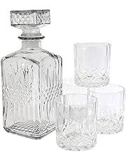 Sabeur et Degustation KV7190 - Whisky Fles en 4 glazen, transparant, 9 x 9 x 22,8 cm