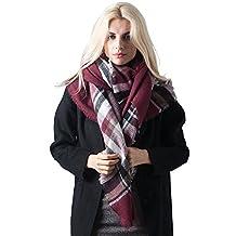 MissShorthair Fashion Unisex Winter Reversible Plaid Print Blanket Scarves Shawl