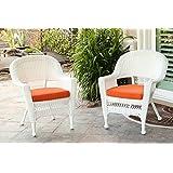 Jeco W00206-C_2-FS016-CS Wicker Chair with Orange Cushion, Set of 2 White/W00206-