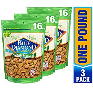 Blue Diamond Almonds, Raw Whole Natural, 16 Ounce (Pack of 3)