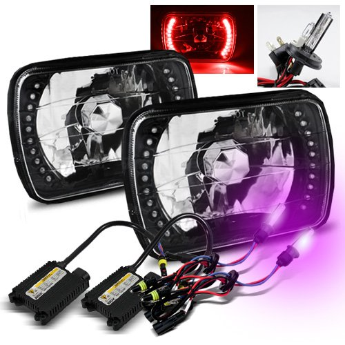 ModifyStreet 12000K Purple H4-2 Low Beam Xenon/High Beam Halogen Slim HID/7x6 H6014/H6052/H6054 Black Crystal Headlights with Red LED Ring