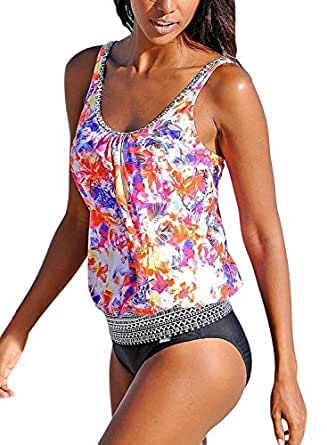 Sidefeel Beach Ethnic Print two Pieces Tankini Swimsuit With Basic Short Large Multicolor