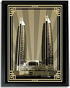 Photo of Damac Tower-Sepia With Gold Border No Text F09-M (A3)