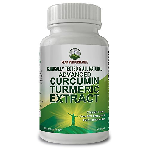 Supplements Performance Advanced (Advanced Turmeric Curcumin Extract Clinically Proven Reduction in Pain and Inflammation. Proof - We Have The Clinical Human Study. 48 Times More Absorption. All Natural Supplement by Peak Performance)