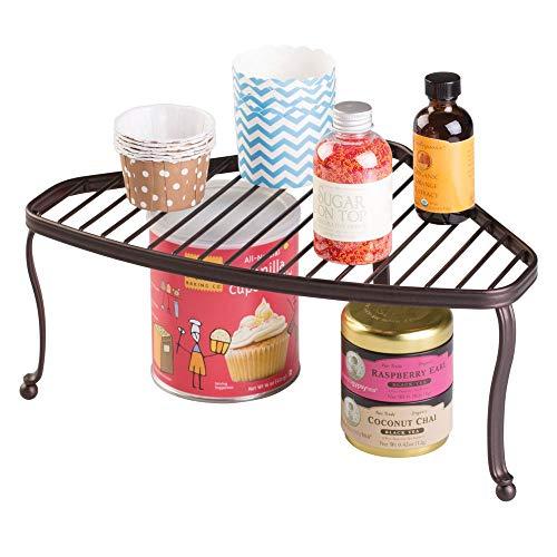 (mDesign Decorative Metal Wire Corner Shelf - 2 Tier Raised Storage Organizer for Kitchen Cabinet, Pantry Shelves, Countertop - Durable Steel - Bronze)