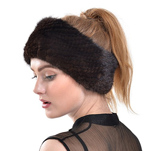 Real Mink Fur Headbands for Womens Outdoor Warm Multi-Use Shawls