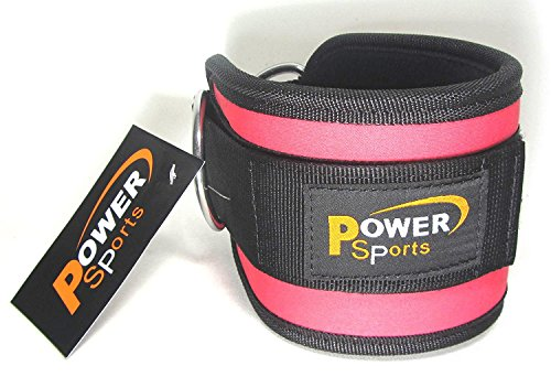 Fuchsia-Pink Power Sports Ankle Strap-Nylon/Neoprene Double Rings Sold Single, Cable Gym Machine Attachment, Leg Foot…