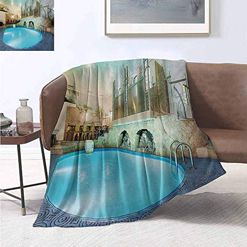jecycleus Modern Luxury Special Grade Blanket Vivid Blue Swimming Pool in Spa Interior Resort Relaxation and Theraphy Theme Multi-Purpose use for Sofas etc. W54 by L72 Inch Blue Aqua Beige