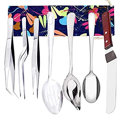 Set of 7 Culinary Specialty Tools, Professional Chef Plating Decorating Kit, Stainless Steel, TuNan Cooking Tweezers Precision Tong, Saucier Decorating Spoon, Serving Slotted Spoon, Cake Icing Spatula