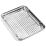 Baking sheets and Rack Set, Zacfton Cookie pan with Nonstick Cooling Rack & Cookie sheets Rectangle Size,Stainless Steel & Non Toxic & Healthy,Superior Mirror Finish & Easy Clean (10inch)