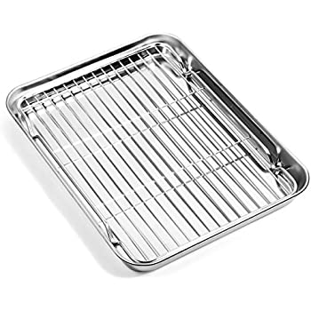 Baking sheets and Rack Set, Zacfton Cookie pan with Nonstick Cooling Rack & Cookie sheets Rectangle Size,Stainless Steel & Non Toxic & Healthy,Rectangle 10x8x1inch Superior Mirror Finish & Easy Clean